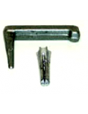 Galvanized steel clamp for flat lightning down conductors.