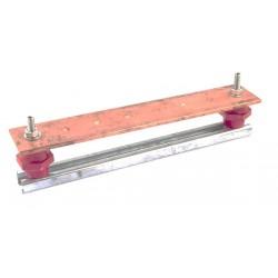 Copper equipotential bonding bar.